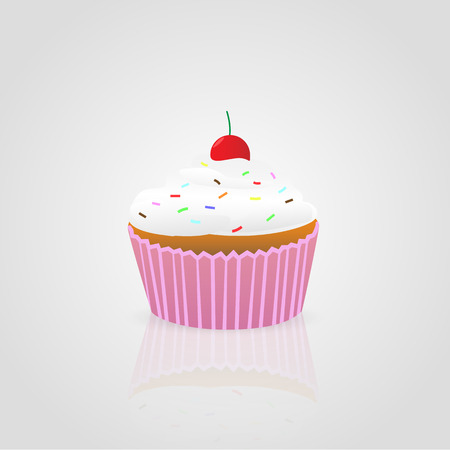 jimmies: Illustration of a colorful cupcake isolated on a light background. Illustration