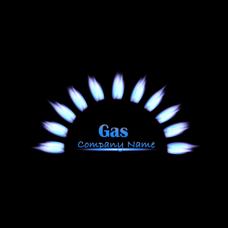 Illustration of gas flames on a dark background.