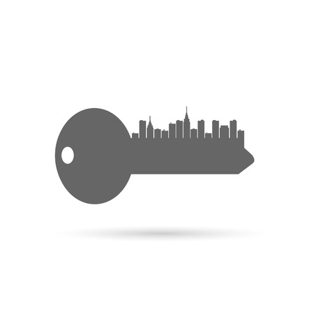 Abstract illustration of a key silhouette with buildings isolated on a white background.