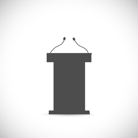 speaker icon: Illustration of a podium silhouette isolated on a white background. Illustration