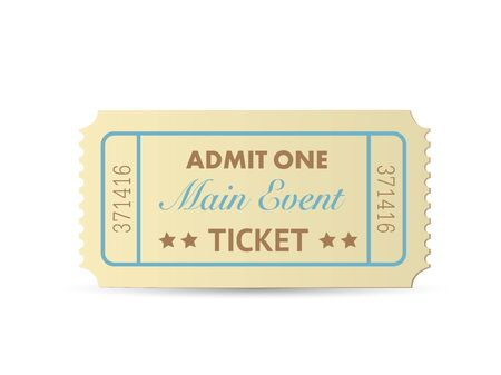 Illustration of a colorful admit one ticket isolated on a white background. Illustration