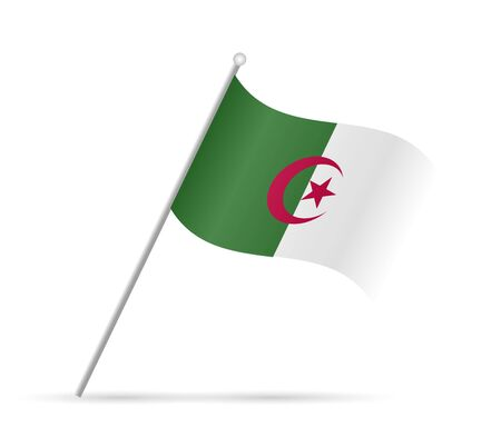 Illustration of a flag from Algeria isolated on a white background.