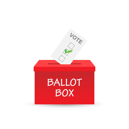 Illustration of a ballot box and vote isolated on a white background. Çizim