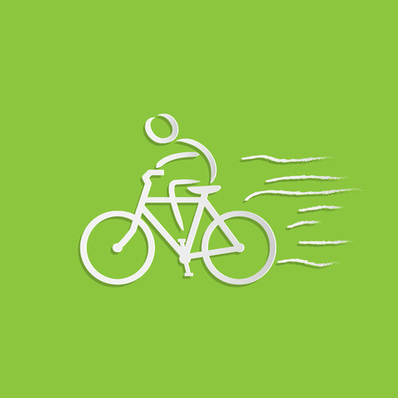 Illustration of a bicycle and rider design on a colorful green background.
