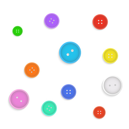 darn: Illustration of colorful buttons isolated on a white background.