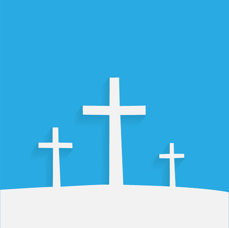 crosses: Illustration of religious crosses against a colorful background.