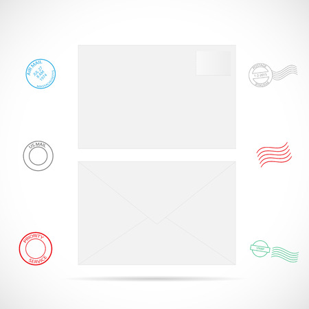 Illustratie van een envelop met stempels die op een witte achtergrond.