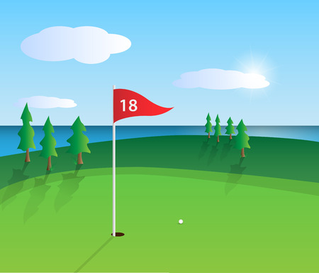 flag icons: Illustration of a colorful golf course design. Illustration