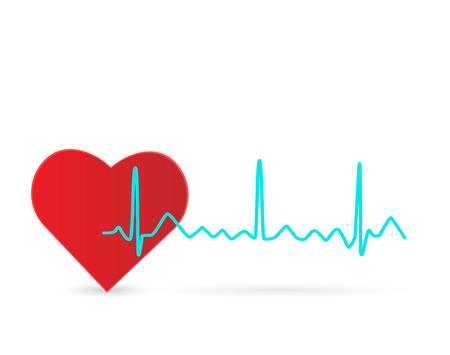 Illustration of a heart and wave isolated on a white background.