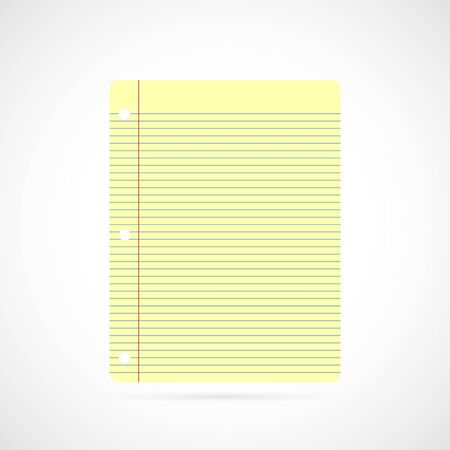 Illustration of colorful yellow notebook paper isolated on a white background. Vector