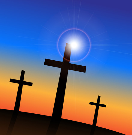 Crosses: Illustration of 3 religious crosses against a colorful sky background.