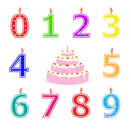 Illustration of birthday candles and cake isolated on a white background.