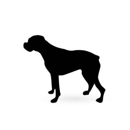 Illustratie van een hond silhouet geïsoleerd op een witte achtergrond.