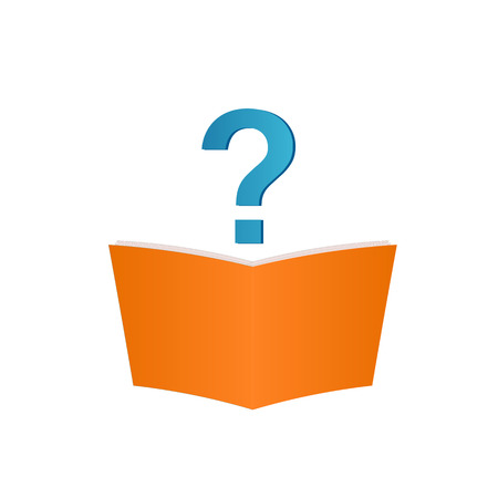 Image of a book and question mark isolated on a white background.