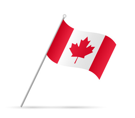 Illustration of a flag from Canada isolated on a white background.