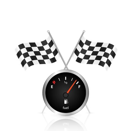 cars race: Illustration of a gas gage and checkered flags isolated on a white background.