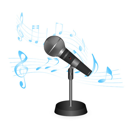 Illustration of a vintage microphone and musical notation isolated on a white background.