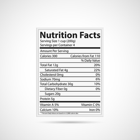 ingredient: Illustration of a nutrition label isolated on a white background.