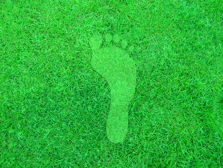 greenhouse gas: Illustration of a green footprint on a grass background.
