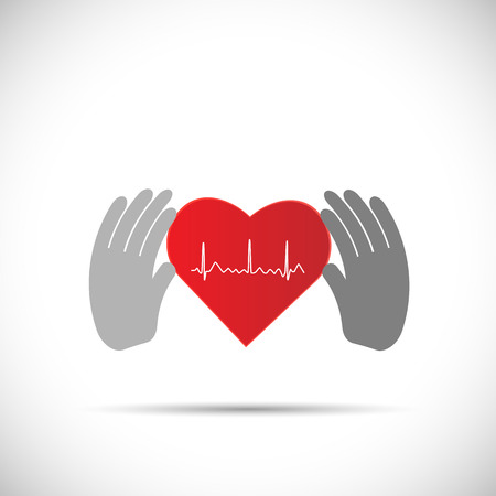 ecg heart: Illustration of hands holding a red ECG heart isolated on a white background.