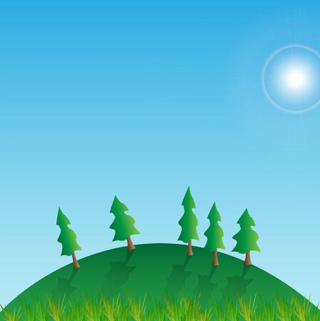 rolling landscape: Illustration of a hill with grass, trees, sun and blue sky.