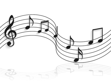 Illustration of musical notes on a curved staff isolated on a white background.