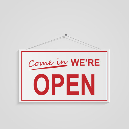 store front: Illustration of a hanging open sign isolated on a white background. Stock Photo