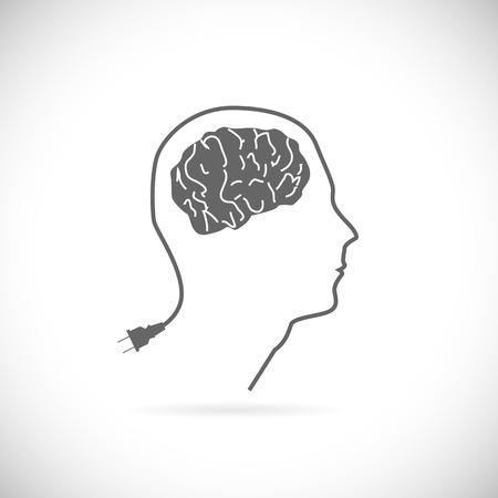 cabel: Brain idea illustration isolated on a white background