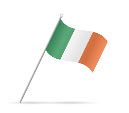 Illustration of a flag from Ireland isolated on a white background. Illustration