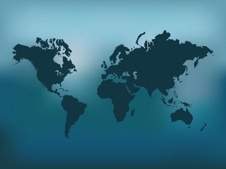 Illustratie van de wereldkaart op een kleurrijke blauwe achtergrond.