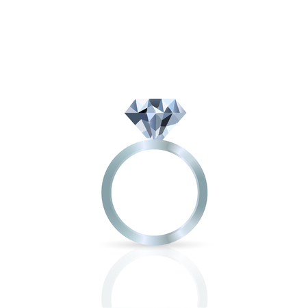 diamond ring: Illustration of a diamond ring against a white background. Illustration