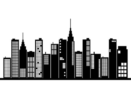 iconic architecture: Image of al city skyline silhouette isolated on a white background.