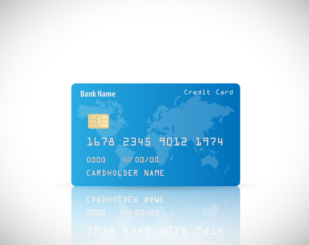 reflection: Illustration of a credit card design isolated on a white background. Illustration