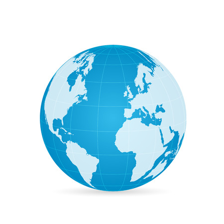 Illustration of a colorful world globe isolated on a white background. Çizim