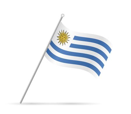 bandera de uruguay: Ilustración de una bandera de Uruguay aislado en un fondo blanco.