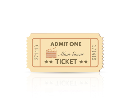 admit: Illustration of a colorful admit one ticket isolated on a white background. Illustration