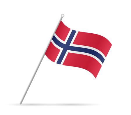 白い背景に分離されたノルウェーの旗のイラスト。