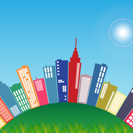 rolling hills: Illustration of a colorful city on a green hill.