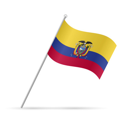 Illustration of a flag from Ecuador isolated on a white background.