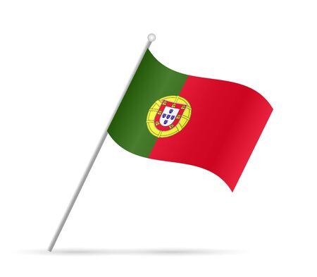 Illustratie van een vlag van Portugal die op een witte achtergrond.
