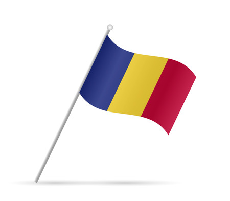 Illustration of a flag from Romania isolated on a white background.