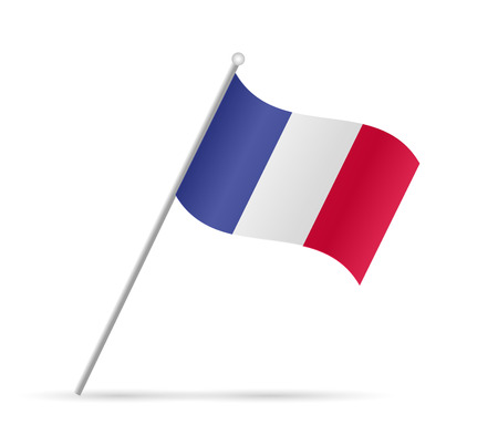 Illustration of a flag from France isolated on a white background.