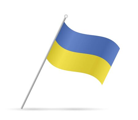 Illustration of a flag from Ukraine isolated on a white background.
