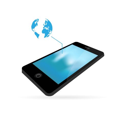Smartphone and world map icon isolated on a white background