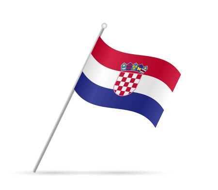 Illustration of a flag from Croatia isolated on a white background.