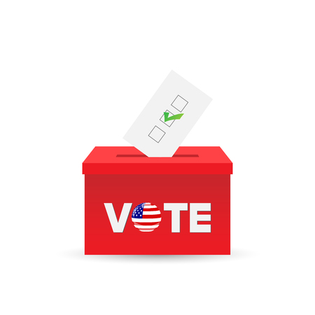 balloting: Illustration of a ballot box and vote isolated on a white background. Illustration