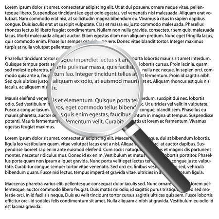 critique: Magnifying glass vector illustration over text