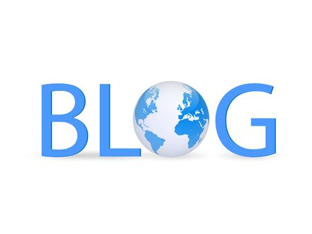 telecommunications technology: Illustration of a globe with the word blog isolated on a white background.