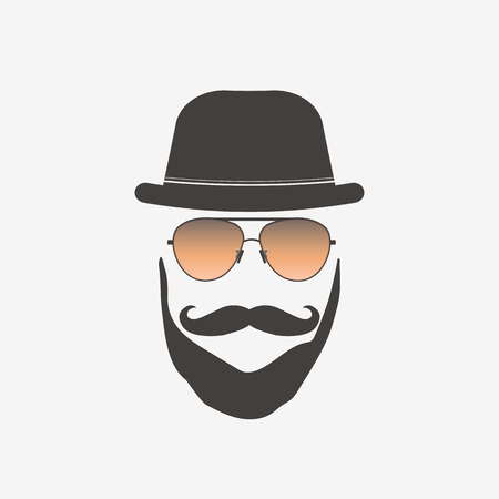 Hipster sunglasses illustration on a white background