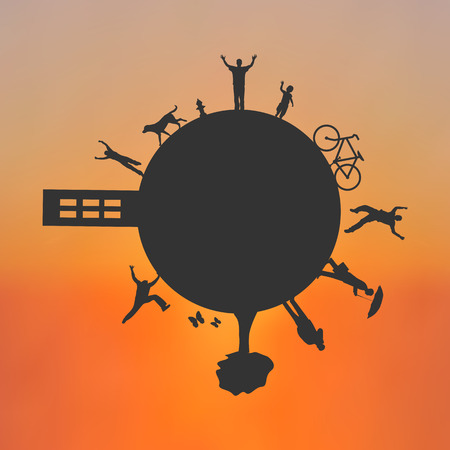 cartwheel: Eco friendly planet on a colorful sunset background